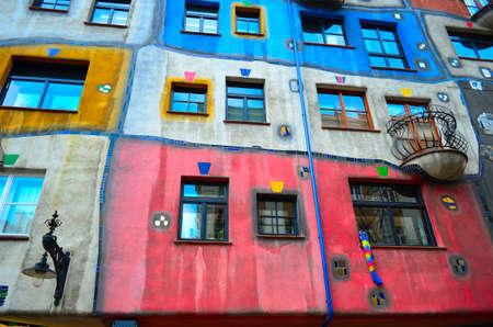 postmodern: Unusual facade of Hundertwasser house in Vienna, Austria