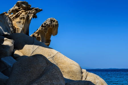 sithonia: Natural stone sculpture - large rocks of various shapes on Fava beach, Sithonia, Greece