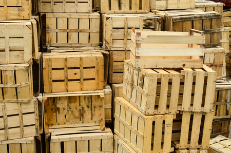 distribution box: Pile of empty wooden crates waiting for transportation Stock Photo