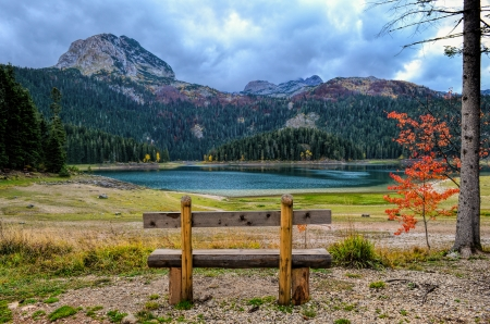 Empty wooden bench with view on mountain, glacial lake in autumn, small, red tree  and dramatic, cloudy sky photo