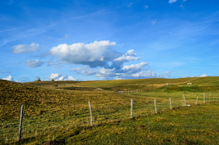 Rural scene with fenced pastures and hay stacks in the distance photo