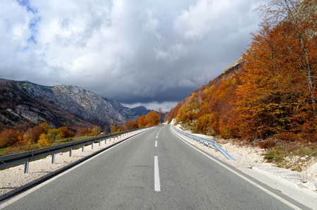 streight: Streight asphalt road with metal safety fence, autumn forest, high mountains and low clouds