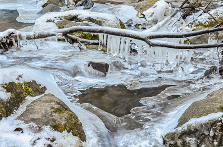 Detail of frozen brook -  stones with moss, icicles on branch and cold, clear water photo