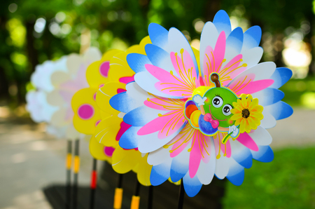 pinwheels: Many multicolored pinwheels in a row, ilustrated and decorated Stock Photo