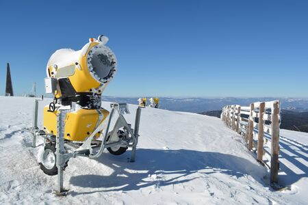 appointed: High power snow guns on the top of the mountain, ready for action