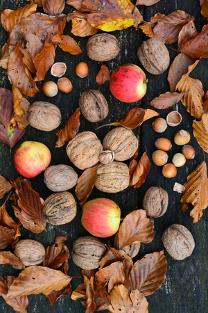 Walnuts, hazelnuts and wild apples mixed with autumn leaves on old, grunge oak table, top view Stockfoto