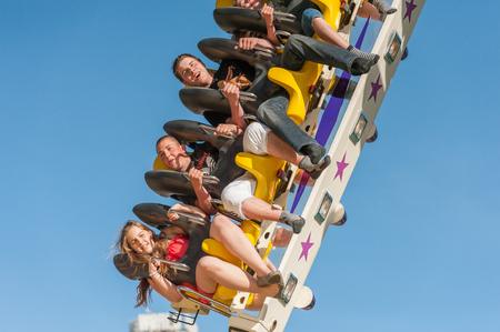 Young people have fun at the annual fair in Ouchy, Lausanne, Switzerland.