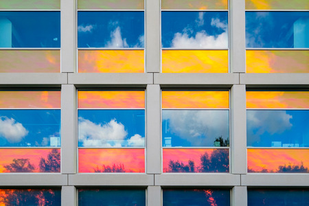 Reflections in colorful coated windows of the building for Applied Sciences of the Delft University of Technology, Netherlands Stock fotó