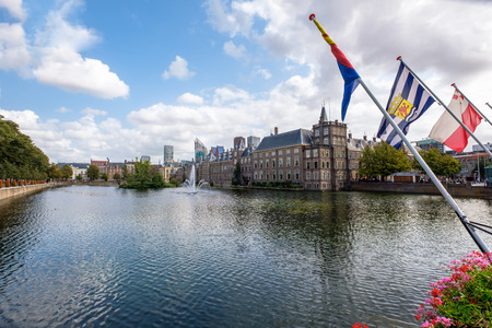 A view on the Hofvijver (court pond) and the Dutch parliament buidings (Het Binnenhof), in The Hague, Netherlands Stok Fotoğraf