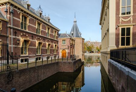 Het Torentje (The Little Tower), the small octagonal building at the Hofvijver (Court Pound) in The Hague, is the official office of the Prime Minister of the Netherlands since 1982. Stok Fotoğraf