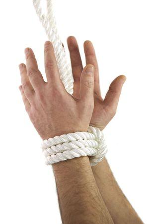 Open tied hands Stock Photo