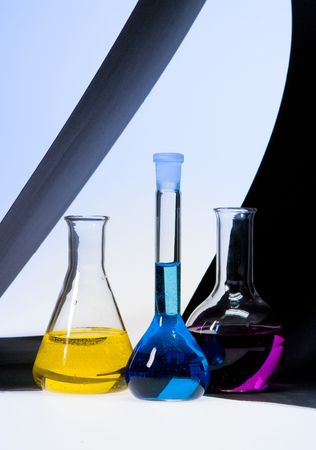 Image of three tubes with colored chemicals