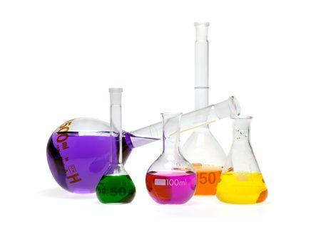 destilacion: La misma viales de color con los productos qu�micos  Foto de archivo
