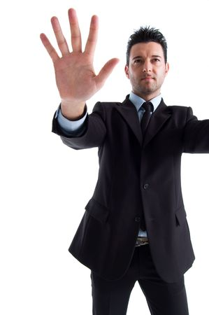 Businessman with huge hand