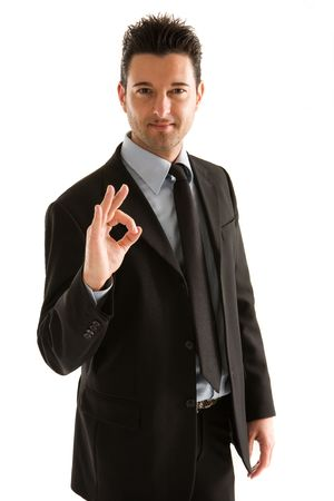 Men dress elegant indicating OK with the hand