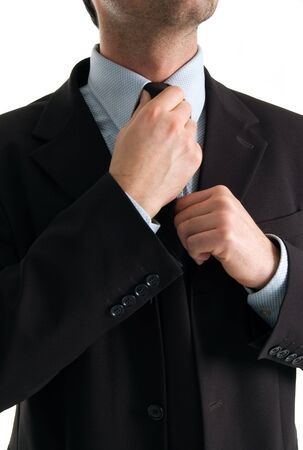Businessman wearing tie with blue sky shirt color