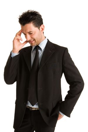 Young businessman who thinks affairs