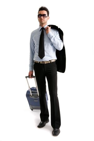 Young businessman dressed casual with travel luggage.