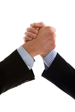 Close up of friendly business people handshake. Dressed in dark and blue shirts.