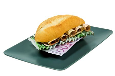 Sandwich stuffed with money. Conceptual photography that rappresent the hunger for wealth