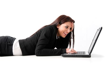 Elegant business woman drawn on the ground with laptop.