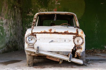 An ancient car ready for junkyard Stock Photo