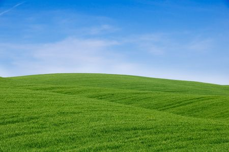 Rolling green hills and blue sky. Tuscany landscape, Italy. Stock Photo