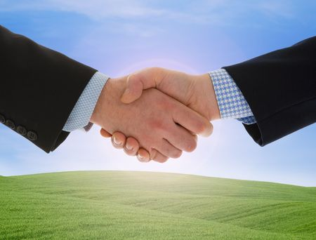 Global warming handshake - Conceptual image photo