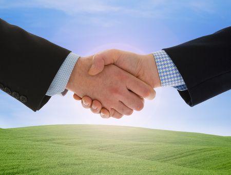 Global warming handshake - Conceptual image Stock Photo
