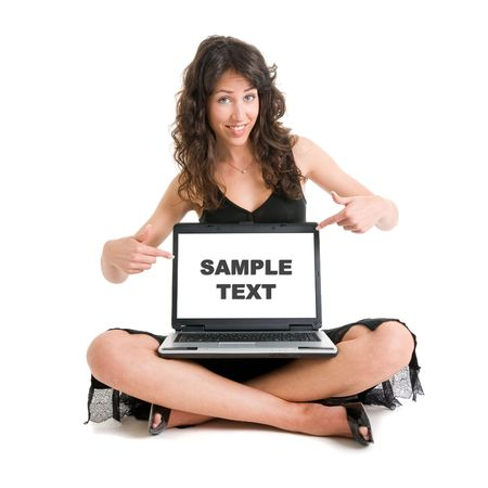 Girl with laptop usable for advertising. Image ready to add your own text or image.