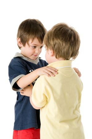 Affectionate embrace between two adorable children