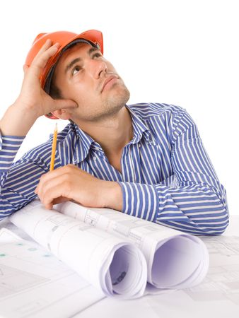 Architect working with technical drawings Stock Photo
