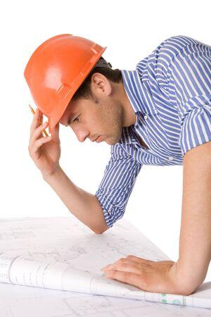 dibujo tecnico: Arquitecto trabajar con dibujos t�cnicos  Foto de archivo
