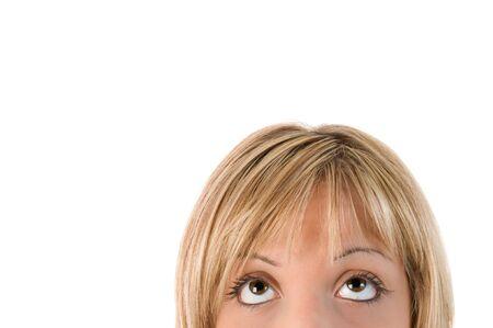 Half head girl. Blonde girl looks to advertising