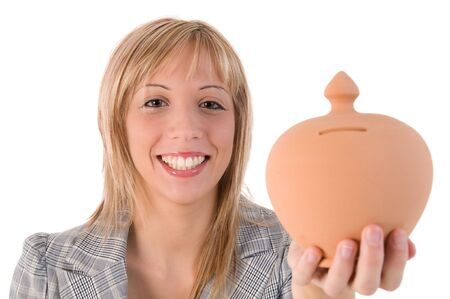 Blonde smiling girl holding a money box. Isolated image on white background. photo