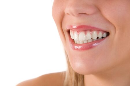 Closeup of beautiful smile of young woman