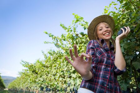 Young peasant woman sign ok with hand during the harvest Stock Photo