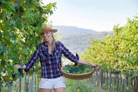 Smiling woman in the middle of the vineyard