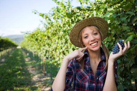 winemaker: Young peasant woman grape sign good with hand during the harvest among the vineyards