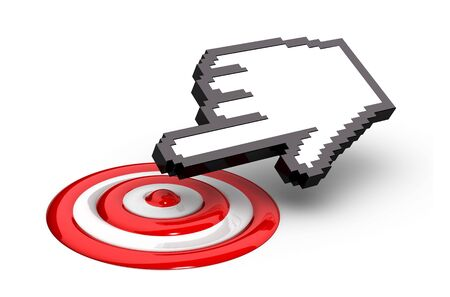 A computer cursor hand icon clicks on the bulls eye of a red target.