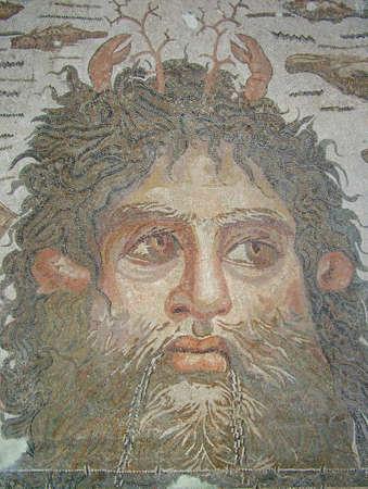 Original roman mosaic portrait of  Neptune