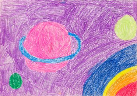 Het beeld is gestileerd door de tekening van kinderen met planeten, asteroïden en kosmische ruimte. Zoals kinderpotloodtekening met planeten, asteroïden en universum
