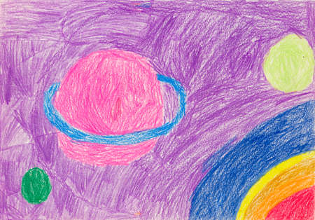 Picture is stylized by childrens drawing with planets, asteroids and outer space. Like childrens pencil drawing depicting planets, asteroids and universe Stock Photo