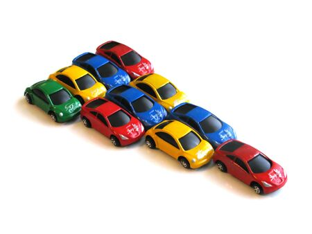Composition of color cars on a white background Imagens