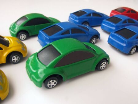 for children toys:                                Composition of color cars on a white background