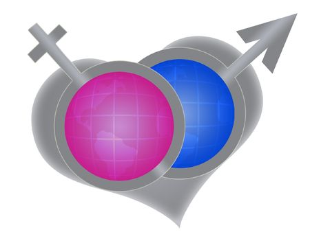 Symbol Of Male Mars And Female Venus On The Background Of