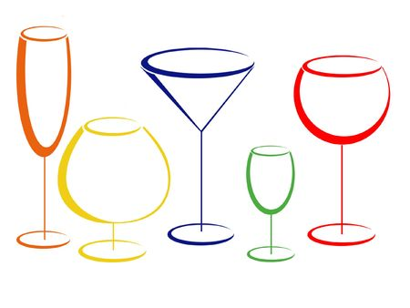 liquor: Colour glasses for alcohol drinks Stock Photo