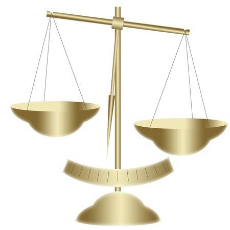 trial balance: Escalas de oro Foto de archivo