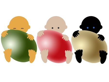 internationally:  Multiracial babies with eggs on white Stock Photo