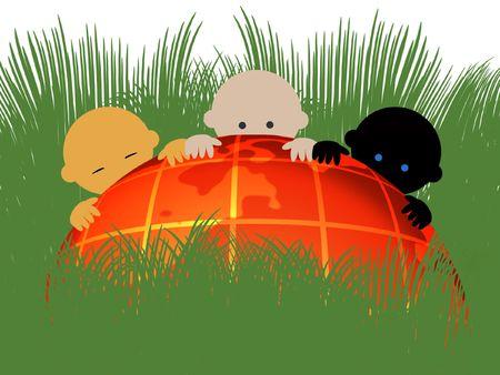 Bebés multirraciales en globo